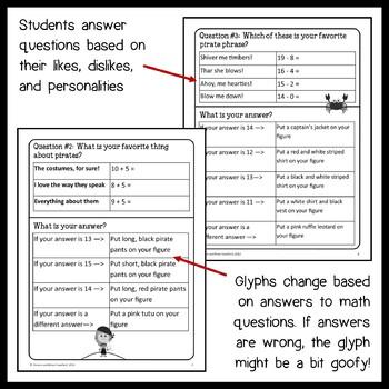 Pirate Math Goofy Glyph (1st Grade Common Core)