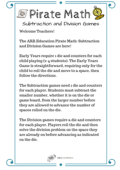 Pirate Math: Subtraction and Division Games