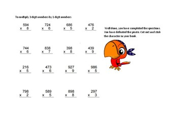 Pirate Maths - multiplying 3 digit numbers by 1 digit numbers