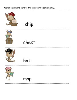 Pirate Monkey word families with short vowels, blends, and diagraphs