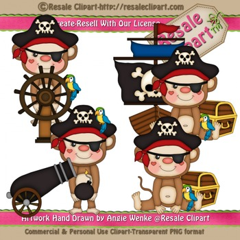 Pirate Monkeys 1 ClipArt - Commercial Use