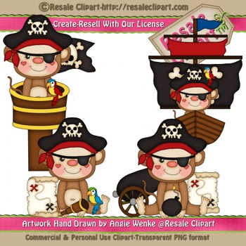 Pirate Monkeys 2 ClipArt - Commercial Use