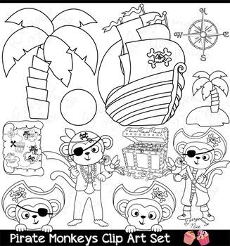 Pirate Monkeys Clipart Set