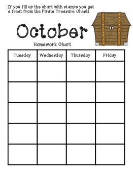 Pirate Monthly Homework Charts