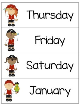 Pirate Months & Days Cards - FREE DOWNLOAD