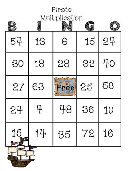 Pirate Multiplication BINGO