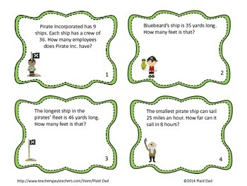 Pirate Multiplication Task Cards