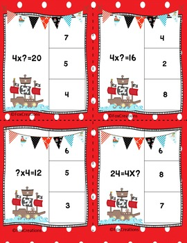 Pirate Multiplication and Division Unknown Factor Equations ~ Clip It Task Cards
