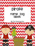 EDITABLE Pirate Name Tag Labels