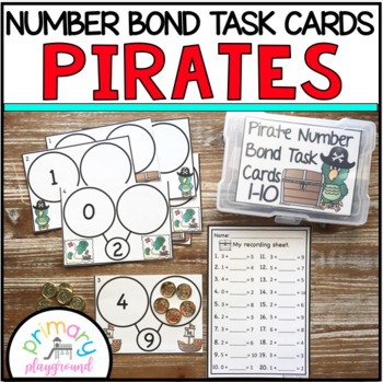 Pirate Number Bond Task Cards 1-10 Center