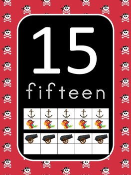 Pirate Number Posters (0 to 20) with Ten Frames
