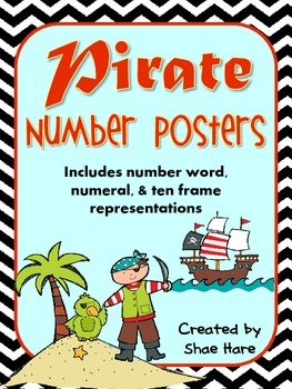 Pirate Number Posters {NO TALLY} Ship Treasure Polly Ocean