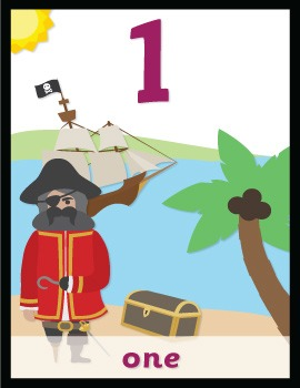 Pirate Numbers 0 to 30 (Word and Digit)