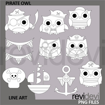 Pirate Owls Clip Art Black and White - commercial use clipart