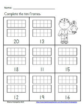 Pirate Pals Ten Frames No-Prep Printables (Quantities of 11 to 20)
