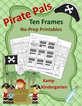 Pirate Pals Ten Frames No-Prep Printables (Quantities of 11 to 20)