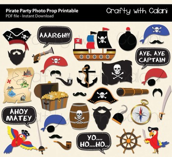 graphic relating to Pirate Party Printable named Pirate Social gathering Image Booth Prop, Youngsters Pirate Image Booth Prop Printable