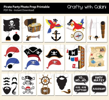 Pirate Party Photo Booth Prop, Children Pirate Photo Booth Prop Printable