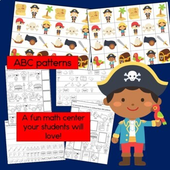 Pirate Patterns Math Center with AB, ABC, AAB & ABB Patterns
