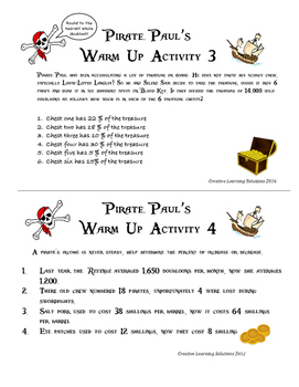 Pirate Paul's Adventures with Ratio & Percent for the Middle School
