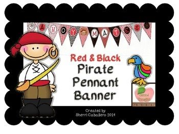 Pirate Pennant Banner in Red and Black