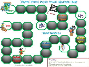 Pirate Pete's Place Value Treasure Hunt 2 Digit Numbers Game
