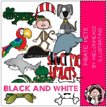 Pirate Pets clip art - BLACK AND WHITE - by Melonheadz