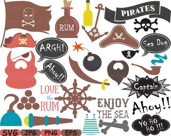 Pirate Photo Booth Props Pirates clip art game Party Birthday masks love -183s