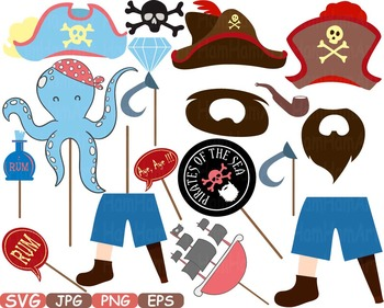 Pirate Photo Booth Props Pirates clip art maps Party Birthday masks love -186s