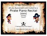 Pirate Piano Recital Invitation
