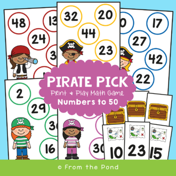 Pirate Pick - Activity / Center Game for Numbers 31-50