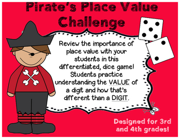 Pirate Place Value Dice Game