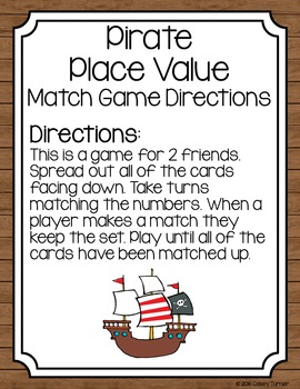 Pirate Place Value Renaming Match Game