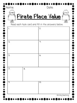 Pirate Place Value Task Cards