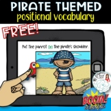 Pirate Positional Vocabulary: Free Boom Card Activity for