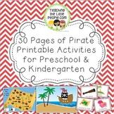 Pirate Printable Activities for Preschool and Kindergarten