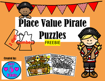 Place Value Pirate Puzzles 2 digit Numbers -FREEBIE
