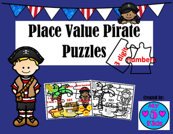 Pirate Puzzles 3 digit Numbers Place Value-8 fun puzzles