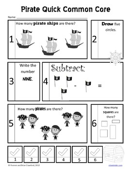 Pirates No Prep Common Core Math (Kindergarten)