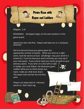 Pirate Race with Ropes and Ladders - Sight Word Game