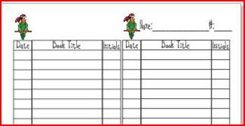 Pirate Reading Book Log