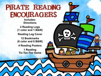 Pirate Reading Encouragers- Reading Logs, Bookmarks, Posters