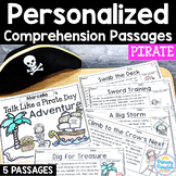 Pirate Reading Passages: PERSONALIZED Comprehension Talk L