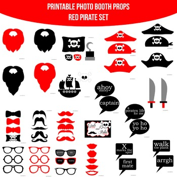 Pirate Red Printable Photo Booth Prop Set