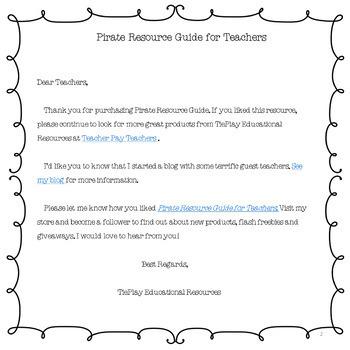 Pirates: A Teacher's Resource Guide