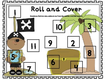 Pirate Roll and Cover Dice Games (Common Core Aligned)
