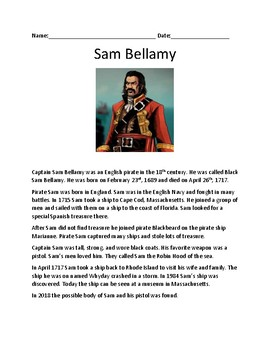 Pirate Sam Bellamy - lesson review article information history - questions