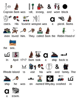Pirate Sam Bellamy - picture supported text review article lesson visuals