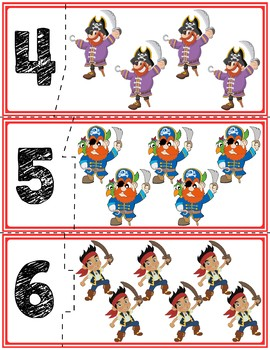 Pirate Self-Correcting Quantity Puzzles   Numbers 1-20