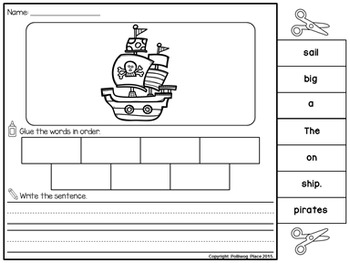 Sentence Scrambles: Pirate Sentence Building Activity